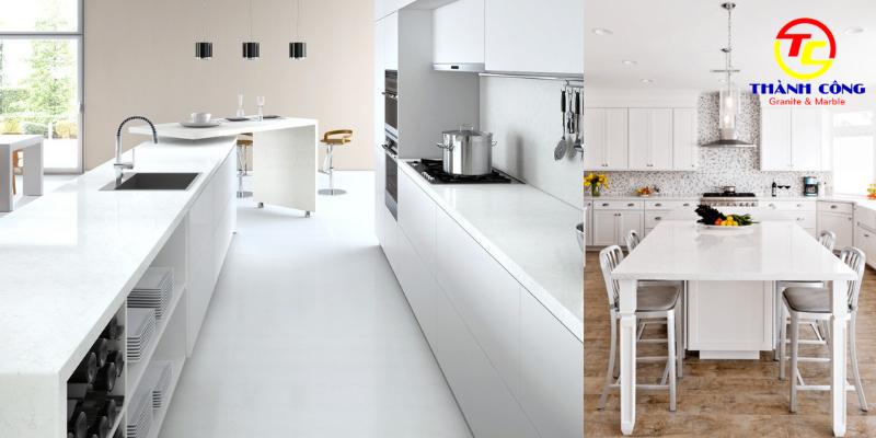 Bếp và bàn bếp đá trắng sứ đẹp