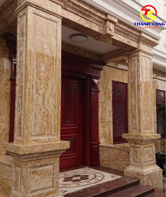10. Ốp đá mặt tiền đá granite vàng hoàng gia